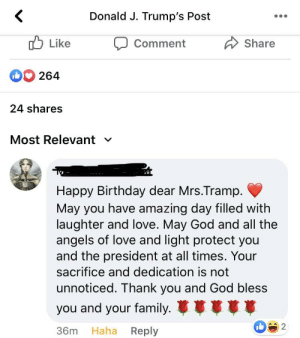 On a post from President Trump wishing Melania a happy birthday: On a post from President Trump wishing Melania a happy birthday