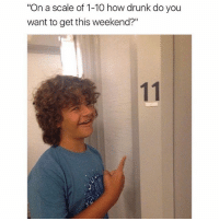 "Drunk, Friday, and It's Friday: ""On a scale of 1-10 how drunk do you  want to get this weekend?"" It's Friday eve y'all."