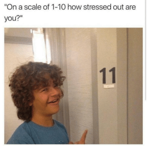 "meirl: ""On a scale of 1-10 how stressed out are  you?""  11 meirl"