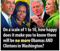 There is not a number high enough!: On a scale of 1 to 10, how happy  does it make you to know there  will be no more obamas AND  Clintons in Washington? There is not a number high enough!