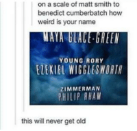 Benedict Cumberbatch Names: on a scale of matt smith to  benedict cumberbatch how  weird is your name  YOUNG RORY  ELEKIEL WIGGLESWORTH  ZIMMERMAN  PHILIP RHAM  this will never get old