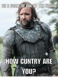 Robin Arryn: ON A SCALE OF ONE TO THE HOUND  HOW CUNTRY ARE  YOU?  Hmematic.ne