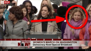 Tumblr, Twitter, and Blog: ON AIR  OEMOCRACY WOMEN'S MARCH ON WASHINGTON  Democracy Now! Special Broadcast  ON WASHINGTON- progressivefriends:  This corrupt rich white woman (Debbie Wasserman Schultz) elevated on stage at #WomensMarch is largely responsible for POTUS Trump. Also worth noting there is no coincidence in the fact that of all the women there she is standing next to Sen. Claire McCaskill (to the right and half cut out of the picture like her next primary) the woman who did all the smearing on tv for the DNC.  Schultz, Clinton's campaign, and the media colluded to ensure Clinton's coronation and when exposed, instead of apologizing and getting in trouble she steps down and gets absorbed into Clinton's campaign. YUCK