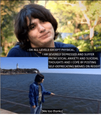 me irl: ON ALL LEVELS EXCEPT PHYSICAL,  I AM SEVERELY DEPRESSED AND SUFFER  FROM SOCIAL ANXIETY AND SUICIDAL  THOUGHTS AND COPE BY POSTING  SELF-DEPRECATING MEMES ON REDDIT  [Me too thanks] me irl