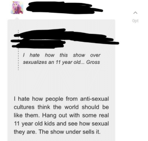 On an entry about a sexualized 11 year old anime character.: On an entry about a sexualized 11 year old anime character.