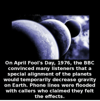 April Fools Day: On April Fool's Day, 1976, the BBC  convinced many listeners that a  special alignment of the planets  would temporarily decrease gravity  on Earth. Phone lines were flooded  with callers who claimed they felt  the effects.
