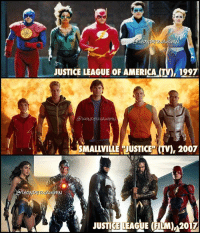 "The EVOLUTION of the LEAGUE aka Team FIVE aka Year of the SEVENs * 1997 ""Justice League of America"", an unsuccessful TV pilot. Pictured CAST: Atom, Fire, Flash, Green Lantern (Guy Gardener), Ice -The team also included Martian Manhunter * 2007 ""Smallville"" episode entitled ""Justice"". Pictured CAST: Impulse, Green Arrow, Boy Scout, Aquaman, Cyborg -The team eventually included Black Canary, Zatanna, Martian Manhunter * 2017 ""Justice League"" uniting in the DC Extended Universe. Pictured CAST: Wonder Woman, Cyborg, Batman, Aquaman, Flash -The team WILL include Superman, others (Green Lantern and Shazam) will follow in sequel films *** @gal_gadot @benaffleck @rehsifyar @prideofgypsies @tomwelling @justinhartley @alanritchson @kylegface smallville tomwelling justiceleagueofamerica unitetheleague benaffleck brucewayne galgadot dianaprince jasonmomoa arthurcurry ezramiller barryallen rayfisher victorstone henrycavill clarkkent: ON  AUGHN  JUSTICE LEAGUE OF AMERICA  1997  MALLVILLE JUSTICE (TV, 2007  JUSTICE LEAGUE FILM)M2017 The EVOLUTION of the LEAGUE aka Team FIVE aka Year of the SEVENs * 1997 ""Justice League of America"", an unsuccessful TV pilot. Pictured CAST: Atom, Fire, Flash, Green Lantern (Guy Gardener), Ice -The team also included Martian Manhunter * 2007 ""Smallville"" episode entitled ""Justice"". Pictured CAST: Impulse, Green Arrow, Boy Scout, Aquaman, Cyborg -The team eventually included Black Canary, Zatanna, Martian Manhunter * 2017 ""Justice League"" uniting in the DC Extended Universe. Pictured CAST: Wonder Woman, Cyborg, Batman, Aquaman, Flash -The team WILL include Superman, others (Green Lantern and Shazam) will follow in sequel films *** @gal_gadot @benaffleck @rehsifyar @prideofgypsies @tomwelling @justinhartley @alanritchson @kylegface smallville tomwelling justiceleagueofamerica unitetheleague benaffleck brucewayne galgadot dianaprince jasonmomoa arthurcurry ezramiller barryallen rayfisher victorstone henrycavill clarkkent"