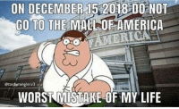 America: ON DECEMBER 15 2018 00 NOT  GO TO THE MALL OF AMERICA  @tardwranglerv3  WORST MISTAKE-OF MY LIFE
