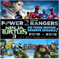 What do you want to see in PowerRangers2 and NinjaTurtles3 !? 🤔 PowerRangers and NinjaTurtles : OutofTheShadows both didn't do very well in the Box Office, But I really Enjoyed both Movies…also both Films were Setting up for a Another Future Movie. TMNT 3 would complete The Trilogy and earlier it was Said that Power Rangers was supposed to get 6 Movies…but now they're unsure. 😔 In my opinion, These Movies Deserve more Sequels…I freaking Love The Rangers and The TeenageMutantNinjaTurtles ! ⚡️🐢: ON DIGITAL HD  JUNE 13  BLU RAY DVD  JUNE 27  P wER2 SABAN'S  NINJA DESERVE MOVIES  URT  2018 2019  IG I Ca DC. MARVEL. UNITE  INSU  W S  AND DIGITAL HD What do you want to see in PowerRangers2 and NinjaTurtles3 !? 🤔 PowerRangers and NinjaTurtles : OutofTheShadows both didn't do very well in the Box Office, But I really Enjoyed both Movies…also both Films were Setting up for a Another Future Movie. TMNT 3 would complete The Trilogy and earlier it was Said that Power Rangers was supposed to get 6 Movies…but now they're unsure. 😔 In my opinion, These Movies Deserve more Sequels…I freaking Love The Rangers and The TeenageMutantNinjaTurtles ! ⚡️🐢