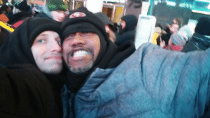 Being Alone, CoCo, and Love: On January first, 2018, I (left) was alone and freezing in Times Square. I met this man who was just incredible, he kept me motivated to stay and bought folks around him hot coco and slices of pizza. Love you man
