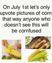 """Memes, Pictures, and Corn: On July 1st let's only  upvote pictures of corn  that way anyone who  doesn't see this will  be cornfused <p>Repost from r/dankmemes via /r/memes <a href=""""https://ift.tt/2yYr9yj"""">https://ift.tt/2yYr9yj</a></p>"""