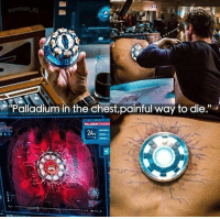 """Memes, Credited, and Pain: on ma  IG  """"Palladium in the chest,painful way to die."""" Credit: """"ironman_ig"""" (IG)   #TonyStark #IronMan"""