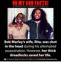 Ritas: ON MY GOD FACTS!  www.om g facts online.com I fb.com/om g facts online I eohmygod facts  Bob Marley's wife, Rita, was shot  in the head during his attempted  assassination. However, her thick  dreadlocks saved her life.  Of Join Facebook's Biggest Facts Library with 6 Million+ Fans  www.facebook.com/omgfactsonline