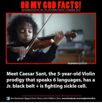 black belt: ON MY GOD FACTS!  www.omg facts online.com I fb.com/o m g facts online leoh my god facts  Innegesource eregrineReads  Meet Caesar Sant, the 5-year-old Violin  prodigy that speaks 6 languages, has a  Jr. black belt is fighting sickle cell.  Join Facebook's Biggest Facts Library with 6 Million+ Fans- www.facebook.com/omgfactsonlin  f