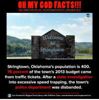 Facebook, Facts, and God: ON MY GOD FACTS!!!  www.omg facts online.com I fb.com/omg facts online I Goh my god-facts  FACTS!  Welcome  atau  Image Credit www.pinterest.com/pin/249738741810378008  Stringtown, Oklahoma's population is 400.  76 percent of the town's 2013 budget came  from traffic tickets. After a  state investigation  into excessive speed trapping, the town's  was disbanded.  police department  Join Facebook's Biggest Facts Library with 6 Million+ Fans- www.facebook.com/omgfactsonline