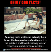 Facebook, Facts, and God: ON MY GOD FACTS!  www.omgfacts online.com I fb.com/om g facts online I eoh my god facts  Painting roofs white can actually help  lower the temperature of a city and it is  the quickest and lowest cost way we can  reduce our global carbon emissions.  Of Join Facebook's Biggest Facts Library with 6 Million+ Fans- www.facebook.com/omgfactsonline