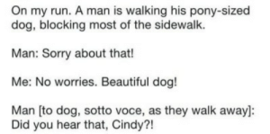 Sidewalk: On my run. A man is walking his pony-sized  dog, blocking most of the sidewalk.  Man: Sorry about that!  Me: No worries. Beautiful dog!  Man [to dog, sotto voce, as they walk away]:  Did you hear that, Cindy?!
