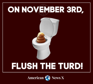 Memes, News, and American: ON NOVEMBER 3RD  FLUSH THE TURD!  American  News X Vote Blue no matter who.