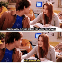 Funny, Asking, and Asks: On October 3rd, he asked me what dayit was  October 3rd. It's October 3rd