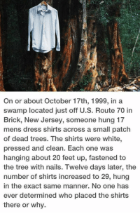 Memes, Dress, and Nails: On or about October 17th, 1999, in a  swamp located just off U.S. Route 70 in  Brick, New Jersey, someone hung 17  mens dress shirts across a small patch  of dead trees. The shirts were white,  pressed and clean. Each one was  hanging about 20 feet up, fastened to  the tree with nails. Twelve days later, the  number of shirts increased to 29, hung  in the exact same manner. No one has  ever determined who placed the shirts  there or why. https://t.co/lABxqKUQmh