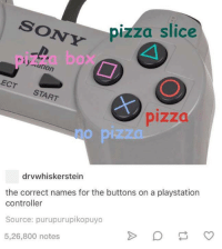 Pizza Slice: ON pizza slice  cation  ECT  START  drvwhiskerstein  the correct names for the buttons on a playstation  controller  Source: purupurupikopuyo  5,26,800 notes