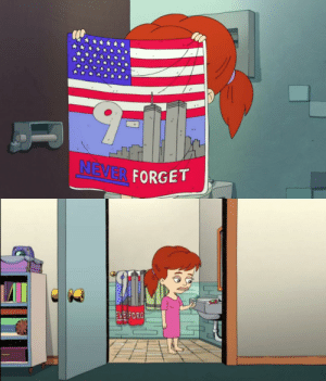 """On season 3 episode 6 of """"Big Mouth"""", there is the same 9/11 towel that Andew gave Jessi on season 1 episode 2.: On season 3 episode 6 of """"Big Mouth"""", there is the same 9/11 towel that Andew gave Jessi on season 1 episode 2."""