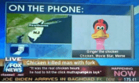"""THANKS SERVET: ON THE PHONE:  Ginger the chicken  Chicken, Movie Star, Meme  LIVE  Chicken killed man with fork  Fox  """"It was the real chicken hours  HAPPENING  he had to hit the chick muthapumpkin iayk""""  NOW  channel  JOE BIDEN ARRIVES IN BAGHDAD FC Dow 175.41 THANKS SERVET"""