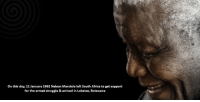 Africa, Memes, and Nelson Mandela: on this day, 11 January 1962 Nelson Mandela left South Africa to get support  for the armed struggle & arrived in Lobatse, Botswana On this day, 11 January 1962 Nelson Mandela left South Africa to get support for the armed struggle & arrived in Lobatse, Botswana
