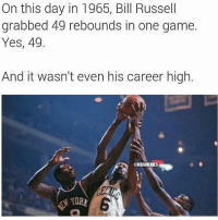 Bill Russell: On this day in 1965, Bill Russell  grabbed 49 rebounds in one game.  Yes, 49.  And it wasn't even his career high.  @NBAMEMES