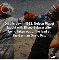 35 years since this legendary bust up 💥🥊 f1 formula1 classicf1 wtf1: On this day in 1982, Nelson Piquet  faught with Eliseo Salazar after  being taken out of the lead at  the German Grand Prix  wtf1. 35 years since this legendary bust up 💥🥊 f1 formula1 classicf1 wtf1