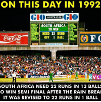 Memes, 🤖, and Mitsubishi: ON THIS DAY IN 1992  CIO  AUSTRALIA  CIO  WESSELS  I GOOCH  SOUTH AFRICA  2 BOTHAM  HUDSON  STEHART  KIRSTEN 3  TO WIN  HICK  KUIPER  s FAIR HER  LAMB  NEED 22 RUNS  LEHIS  REEVE  ODERR TAS  LE OFF BALL  OIL WORTH  SMALL  DONALD  12 RUSHMERE  TUFNELL,  1008  MITSUBISHI ELECTRIC  Ansett Australi  RVC.  WWW, RVCJ.CO  SOUTH AFRICA NEED 22 RUNS IN 13 BALLS  O WIN SEMI FINAL AFTER THE RAIN BREAI  IT WAS REVISED TO 22 RUNS IN 1 BALL OnThisDay in 1992: South Africa lost World cup Semifinals through a cruel rain rule rvcjinsta