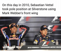 """And a day later """"Not bad for a number 2 driver"""" f1 formula1 britishgp wtf1: On this day in 2010, Sebastian Vettel  took pole position at Silverstone using  Mark Webber's front wing  Formula1  Red Bui  2010 FORMULA T SANTANDER BRITISH GRAN And a day later """"Not bad for a number 2 driver"""" f1 formula1 britishgp wtf1"""
