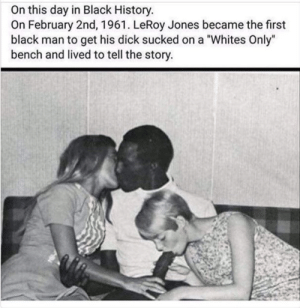 "Tbt, Black, and Dick: On this day in Black History  On February 2nd, 1961. LeRoy Jones became the first  black man to get his dick sucked on a ""Whites Only""  bench and lived to tell the story TBT"
