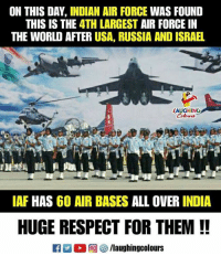 #IndianAirForceDay: ON THIS DAY, INDIAN AIR FORCE WAS FOUND  THIS IS THE 4TH LARGEST AIR FORCE IN  THE WORLD AFTER USA, RUSSIA AND ISRAEL  AUGHING  Colours  IAF HAS 60 AIR BASES ALL OVER INDIA  HUGE RESPECT FOR THEM !! #IndianAirForceDay