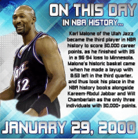 On THIS DRY IN NBA HISTORY C Karl Malone of the Ulah Jazz
