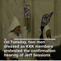 """Kkk, Memes, and Protest: On Tuesday, two men  dressed as KKK members  protested the confirmation  hearing of Jeff Sessions Repost:@CNN-""""White-hooded protesters dressed as the KKK were escorted out Tuesday morning as JeffSessions' Senate confirmation hearing to become the nation's next attorney general began. Multiple other protesters interrupted Sessions as he began to speak and they were promptly removed from the room by police."""" 😩 WSHH"""