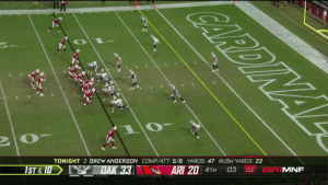 The rookie from @racersfootball finds @calebwilson84 for the score as time expires!  📺:#OAKvsAZ on ESPN  Watch on mobile: https://t.co/uqYku3tPgc https://t.co/DEl26zjqEp: ONA CARDIN  CARDINAL  ESF MNF  02  03  ARI 20 4TH  TONIGHT 3 DREW ANDERSON COMP/ATT: 5/8 YARDS: 47 RUSH YARDS: 22  DAK 33  1ST &10 The rookie from @racersfootball finds @calebwilson84 for the score as time expires!  📺:#OAKvsAZ on ESPN  Watch on mobile: https://t.co/uqYku3tPgc https://t.co/DEl26zjqEp