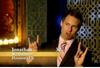 """One thing I liked about Bachelor Pad 1 is that everyone just called this guy """"Weatherman,"""" not Jonathan, so by episode 2 that's what his chyron said. Same with Jesse Kovacs. It was funny hearing Chris Harrison and Melissa Rycroft refer to him only as """"Kovacs."""" It was all very chummy. And fun. Each season is on iTunes for $7.99. My favorite is the first. bachelorpad: onathan  Weatherman  Houston, T  30R One thing I liked about Bachelor Pad 1 is that everyone just called this guy """"Weatherman,"""" not Jonathan, so by episode 2 that's what his chyron said. Same with Jesse Kovacs. It was funny hearing Chris Harrison and Melissa Rycroft refer to him only as """"Kovacs."""" It was all very chummy. And fun. Each season is on iTunes for $7.99. My favorite is the first. bachelorpad"""