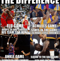 The difference. ... michaeljordan lebron kobe flu ankle achilles elbow back cavs lakers bulls pistons nba meme memes funny basketball nbamemes: ONBAMEMES  ELU-GAME  ACHILLES GAME  STAYS IN THE GAME  HIS TEAM TOIA WIN  TO MAKE 2 FREE THROWS  932  ANKLE GAME  ELBOW TO THE BACK GAME The difference. ... michaeljordan lebron kobe flu ankle achilles elbow back cavs lakers bulls pistons nba meme memes funny basketball nbamemes