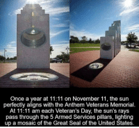 Salute the Troops.: Once a year at 11:11 on November 11, the sun  perfectly aligns with the Anthem Veterans Memorial.  At 11:11 am each Veteran's Day, the sun's rays  pass through the 5 Armed Services pillars, lighting  up a mosaic of the Great Seal of the United States. Salute the Troops.