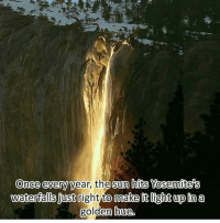 Memes, 🤖, and Yosemite: Once every year, the sun hits Yosemite's  waterfalls just  right to makeit light up in a  golden house, Wow :) this made me smile :)