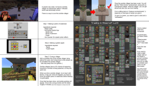 """Apple, Books, and Brains: Once the zombie villager has been cured, You will  get the """"Witch Doctor"""" achievement, along with an  unemployed villager. With this villager, you can get  almost any item you can from trading.  In pewd's new video, he found a zombie  villager he instinctively called it """"infected"""",  which was technically correct.  From crafting items to """"treasure enchantments"""", it  depends on what type of career you give it.  There is a way to cure this zombie villager  To give it a career, you need to give it a bed and a  """"workstation""""  34:12/36:18  Trading in Minecraft 1.14+  Brewing Stand  Step 1: Making a potion of weakness  Butcher  Fisherman  Farmer  Libr arian  ArMorer  Tool Smith  Ingredients required:  - Water bottle  JL  20  1.5  Here's a table l  15  stole from  Inventory  4  Fermented Spider Eye  - Spider eye  22  r/minecraft  26  11  www.e  15  Brown mushroom  I'm gonna give  this table credits  5-64  Sugar  - Gun powder (for splash potion effect)  to  13  JL  O-28  -22  u/MissLauralot  -21  18  since it was  Crafting  -22  """"her?"""" that made  Step 2: Making a golden apple  14-28  it  Leatherworker  Ingredients required:  - Apple  - 8 gold ingots  Cleric  17-31  Enjoy the new  villager.  8-24  9-33  G3-27 JL  Shepherd  Cartographer  18-32  21-35  18 18  26  If you want to  make a safer  Weapon Smith  Gls-27  18 18  15  Fletcher  village, light up  the areas to  7-21  32  Step 3: Curing a villager  With a possible risk of the zombie villager dying  before it's cured, don't bring Sven to this mission as  he will attack the zombie villager.  - also stay away from iron golems  16  prevent zombies  from spawning.  Also put up walls  so zombies can't  1I  10  24  22  17-31  walk in to eat  Mason  Q13-27  Wandering Trader  their brains.  Zombie villagers have a 5% chance of spawning  everytime a zombie is being spawned, so they are  quite rare  7-21  10  If you want to breed  villagers, they need  food in their inventories  8  20  12 12  8-22  and a bed"""