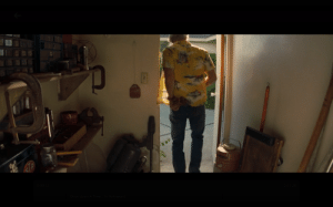 """""""Once Upon A Time In Hollywood"""" (2019): The flamethrower that Rick Dalton (Leonardo Dicaprio) uses can be seen stored in his garage earlier in the film when Cliff Booth (Brad Pitt) gets tools out of it.: """"Once Upon A Time In Hollywood"""" (2019): The flamethrower that Rick Dalton (Leonardo Dicaprio) uses can be seen stored in his garage earlier in the film when Cliff Booth (Brad Pitt) gets tools out of it."""