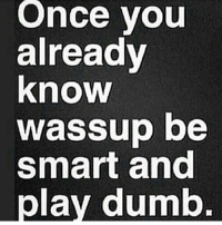 wassup: Once you  already  know  wassup be  smart and  play dumb