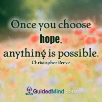 <3 Guided Mind  .: Once you choose  hope,  anything is possible  Christopher Reeve  Guided Corm <3 Guided Mind  .