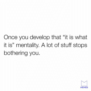 "😁: Once you develop that ""it is what  it is"" mentality. A lot of stuff stops  bothering you.  MEMES 😁"