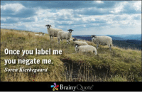Once you label me you negate me. - Soren Kierkegaard https://www.brainyquote.com/quotes/authors/s/soren_kierkegaard.html #brainyquote #wisdom #QOTD: Once you label me  you negate me.  Soren Kierkegaard  Brainy  Quote Once you label me you negate me. - Soren Kierkegaard https://www.brainyquote.com/quotes/authors/s/soren_kierkegaard.html #brainyquote #wisdom #QOTD