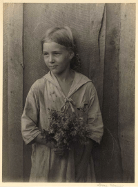 Tumblr, Blog, and Date: onceuponatown:  Appalachian girl holding wildflowers. Unknown date.