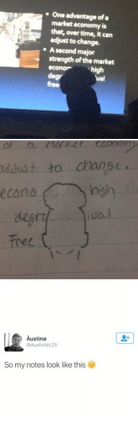 Crying, Free, and Time: One advantage ofa  market economy is  that, over time, it can  adjust to change.  A second major  strength ofthe market  econom  high  deg  tual  free   econo Market  to change  high  Free   Austino  Austin Mc25  So my notes look like this IM CRYING 😂