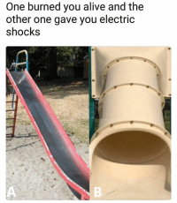 Alive, Memes, and Worldstar: One burned you alive and the  other one gave you electric  shocks Which slide was more painful? A or B? 😩🤔 @worldstar WSHH